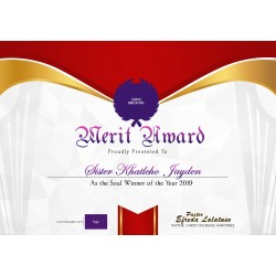 Excellence Award Certificate