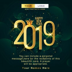 Green And Gold Happy New Year Card
