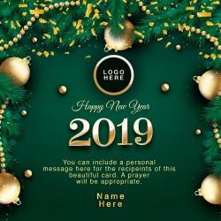 Beautiful Green Happy New Year Card