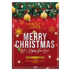 Christmas & New Year Card Red/Gold Design